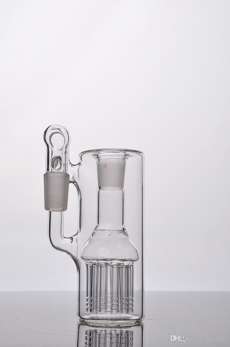 image réelle à l'unité de verre fritte receveur Ash avec ligne d'arbre de bras 12 du bras 18 mm perc joints angle droit pour bongs en verre