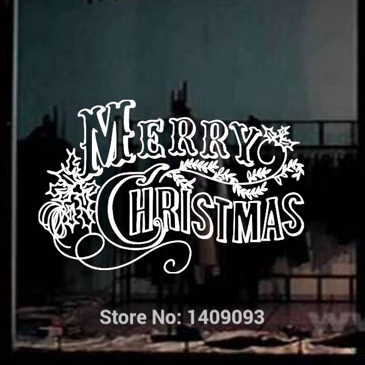 Xmas decoration 2015 wall quotes vinyl stickers flower merry christmas window decals white red black color home decor decal house decal stickers from