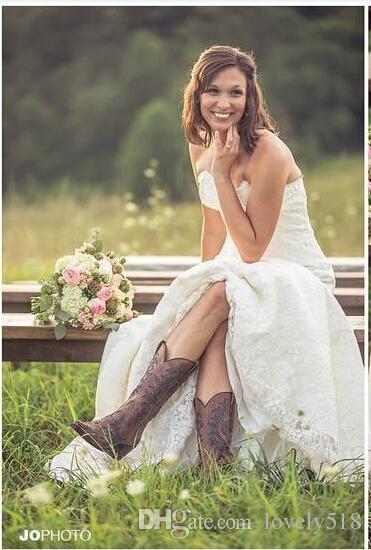 Großhandel 90% Rabatt Vintage Country Garden Brautkleider Sexy ...