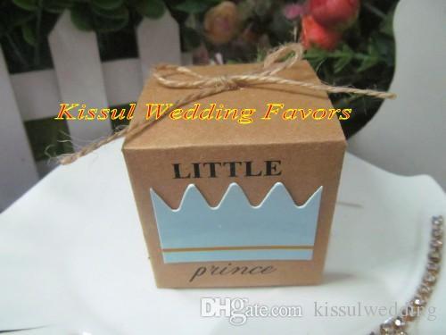 100 UNIDS / LOTE 2016 Baby Shower Favors of Little Prince Kraft Cajas de Favor Para la fiesta de cumpleaños del bebé Caja de regalo y decoración del bebé caja de dulces