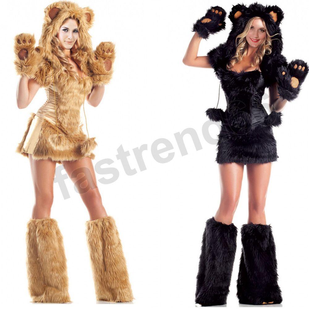 1d8604e8a37b Women Deluxe Furry Bear Cat Halloween Costume Xmas Adult Party Fancy Dress  Hood Sc 1 St DHgate.com