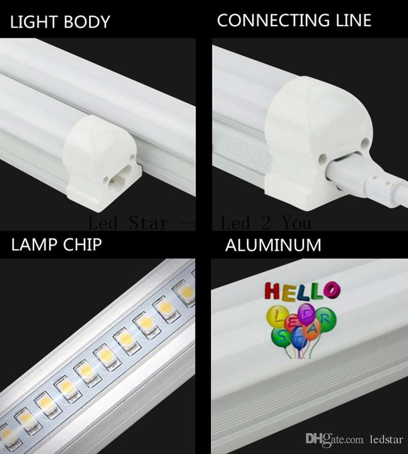 Luces más frías Luces de tubo Led T8 1ft 2ft 3ft 4ft 5ft 6ft 8ft Tubos de luz LED integrados AC 110-240V UL DLC