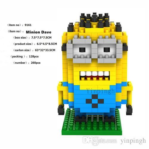 Гадкий Я Миньон 3 шт. алмазные строительные блоки набор, LOZ блоки фигурки игрушки, развивающие игрушки разведки для детей
