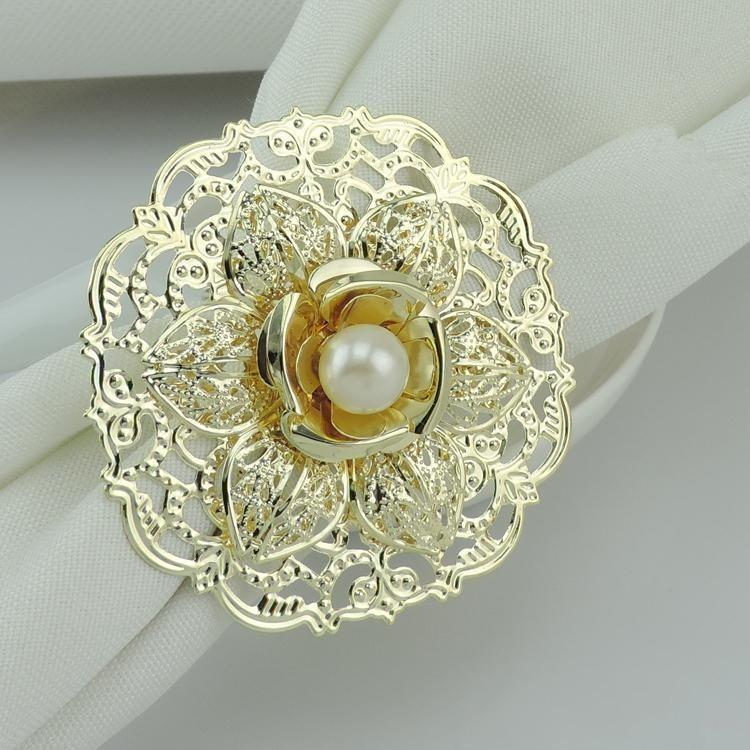 New Fashion Gold Metal Lotus Flower Napkin Rings Crystal