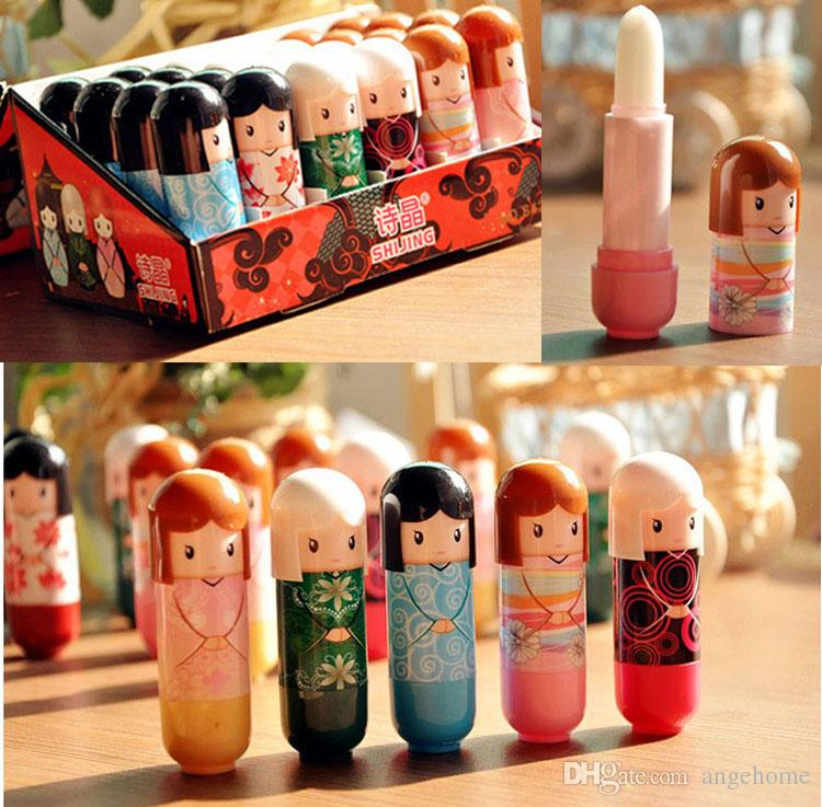 Moisturizing Lip Balm Cute Japanese doll lip balm Pure natural plant Comfortable Fresh Fruit Favor Lipstick Lipsticks Lip Gloss 24pcs/lot