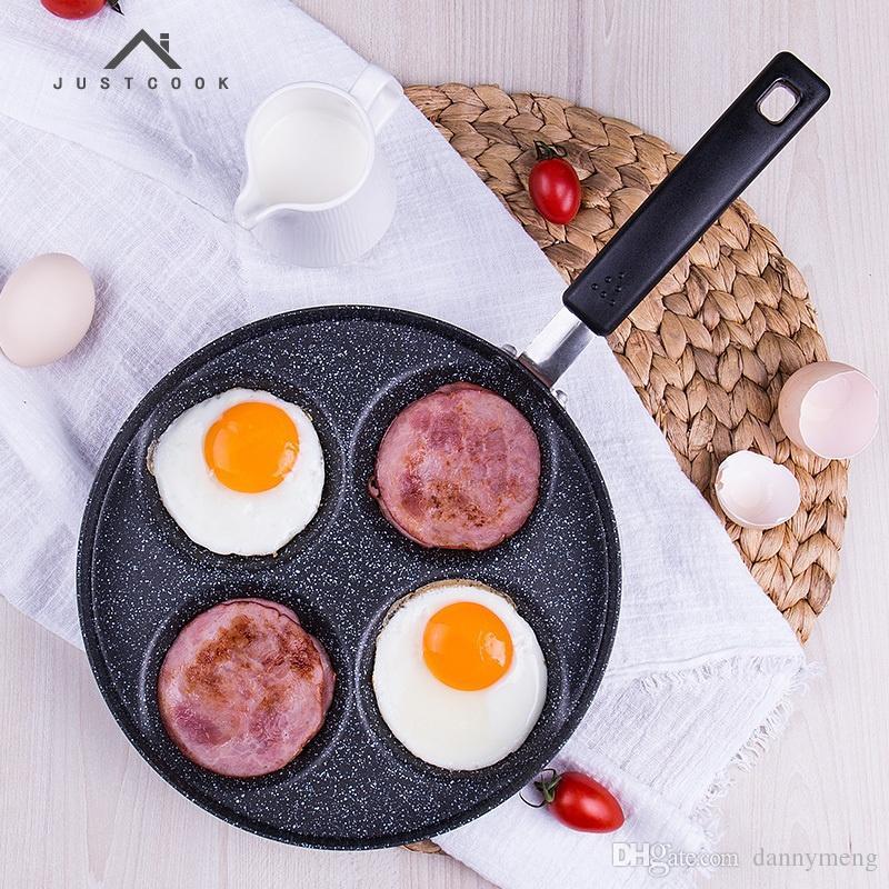 22 CM Creative Non-stick Eggs Ham PanCake Maker Frying Pans No Oil-smoke Breakfast 4 in 1 Grill Pan Gas Cooker