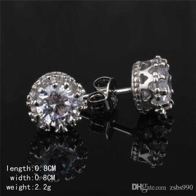 2015 новый дизайн стерлингового серебра 925 CZ Бриллиантовая Корона серьги ювелирные изделия красивая свадьба / помолвка подарок бесплатная доставка
