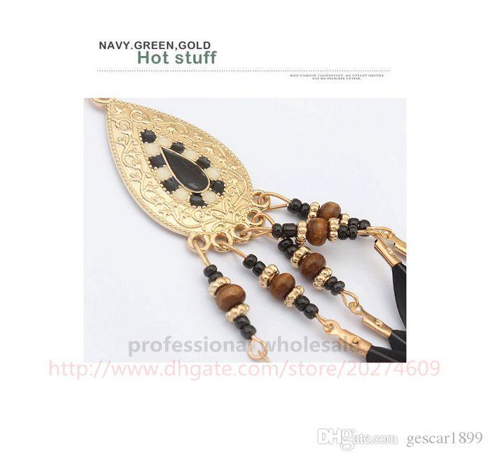 Hot New Style Joyería Regalo de Navidad Bohemia Golden Gota de agua Pluma de la borla de la aleación colgante collar para mujer niña