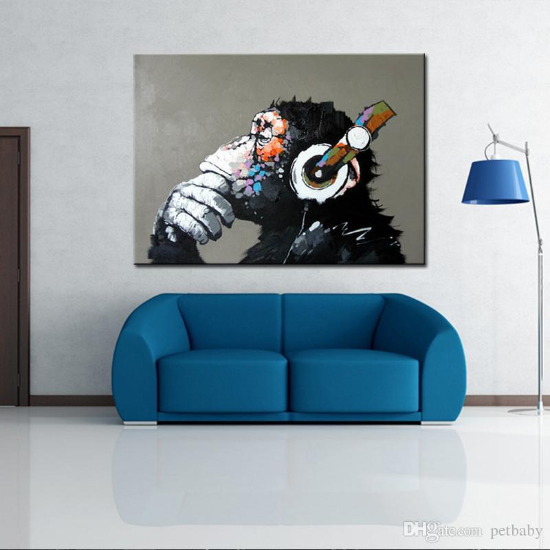 handgemalte abstrakte tier-gorilla tragen ohrstöpsel Ölgemälde auf, Schlafzimmer