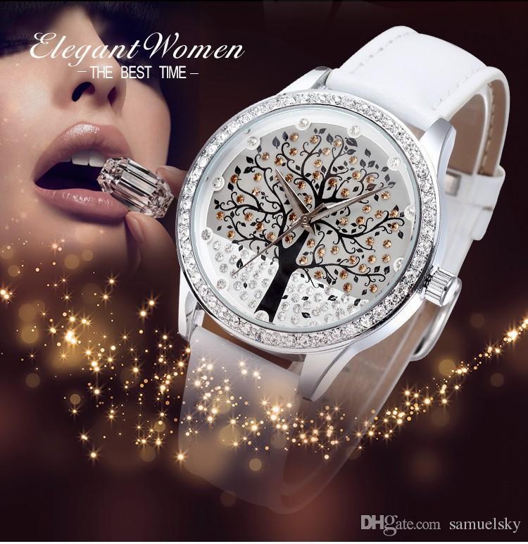2018 Korea Style Womens Elegant White Wrist Watch Luxury Brand Full  Diamonds Leather Fashion Christmas Tree Design Quartz Female Clock Red  Cheap Wrist ... ea60446f8b
