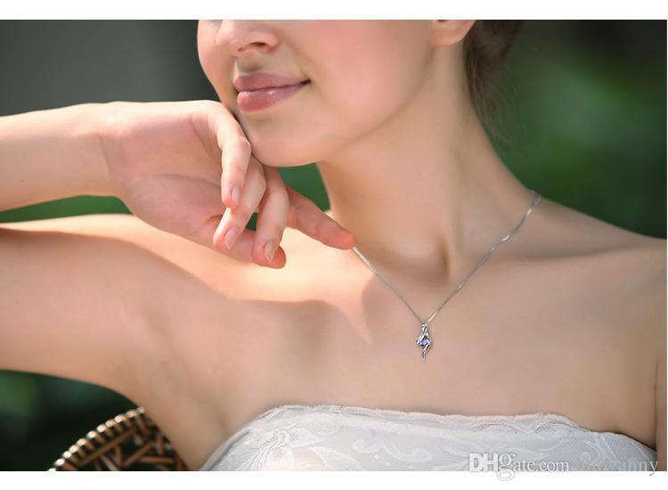 Srebrne Naszyjniki Wisiorki Gorąca Sprzedaż Kryształ Naszyjnik Wisiorek Dla Wedding Party Moda Biżuteria Hurtownie Darmowa Wysyłka 0138W