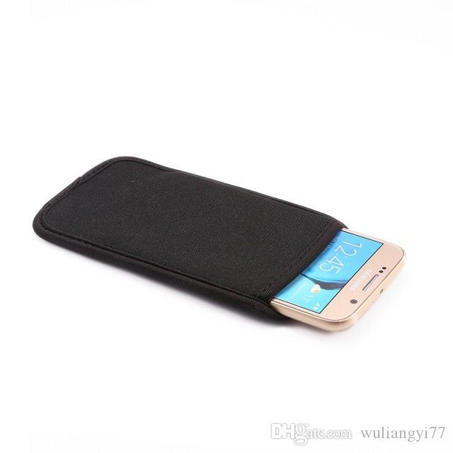 Siyah Elastik Telefon Kılıfları Yumuşak Neopren Koruyucu Kol Kılıfı Çanta Cilt Kapak Cep Telefonları Kılıf Iphone 6 S ve Samsung Galaxy S6 Kenar