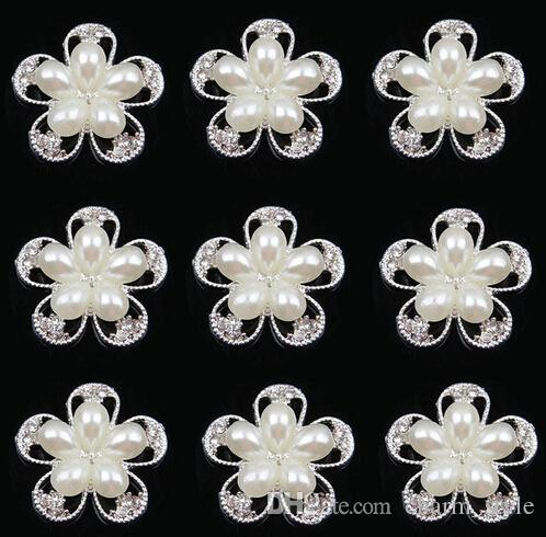 30% kapalı 25mm sıcak altın gümüş çiçek inci alaşım düğme saç yay taklidi düğmesi düz sırt süsleme DIY saç aksesuarı MF 30 adet / grup