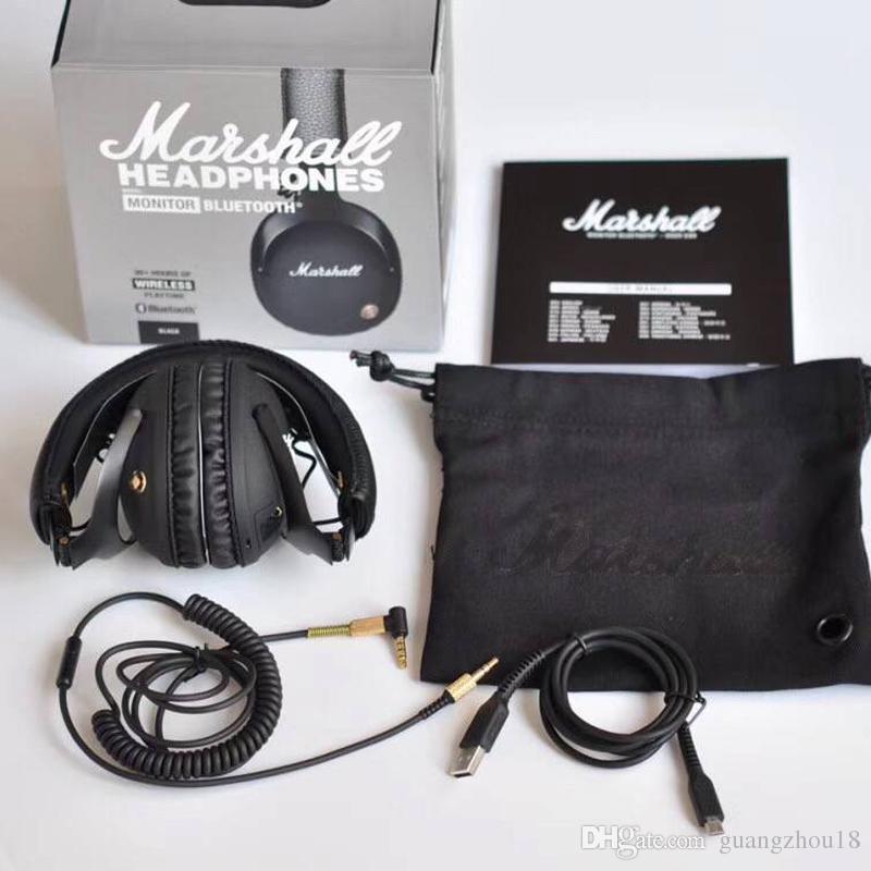 2017 Marshall Mic ile Monitör Katlanabilir Kulaklıklar Deri Gürültü Derin Bas Stereo Kulaklık Monitör DJ Hi-Fi Kulaklık 30 adet