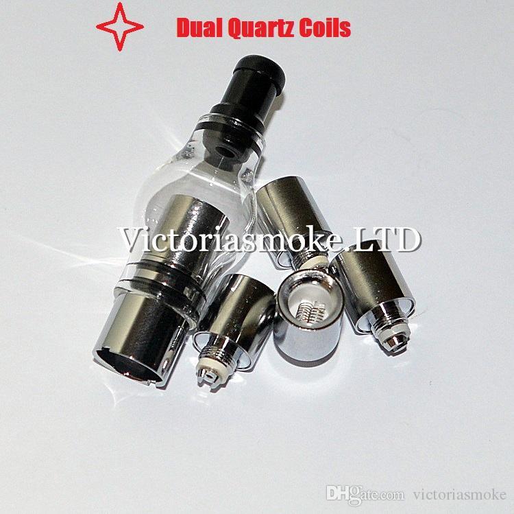 Hot Sale Glass Globe Atomizer Glass Tank Wax Vaporizer Dual Quartz Ceramic Rod Cotton Donut Coils for 510 thread battery ecigs