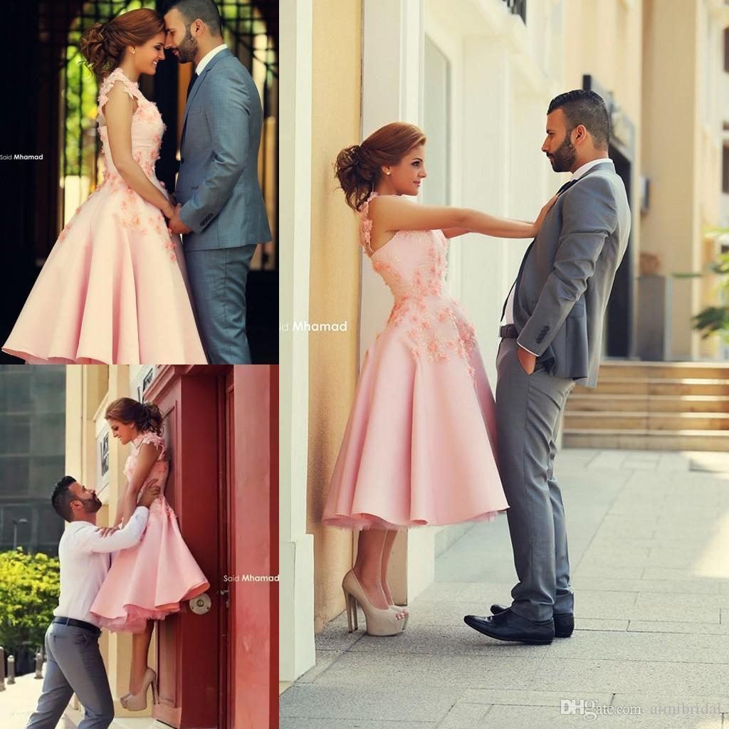 Tea Length Evening Dresses 2018 Pink Engagement Dresses Vintage A