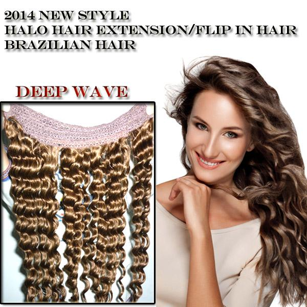 Grade 6a top quality halo hair extension deep curly wave brazilian see larger image pmusecretfo Image collections