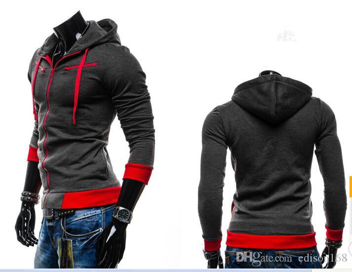 Con capucha sombrero de lana Cardigan con capucha de manga larga chaqueta de la capa de los hombres calientes de la venta del sobretodo de la ropa 5 del color del tamaño M-2XL 8705