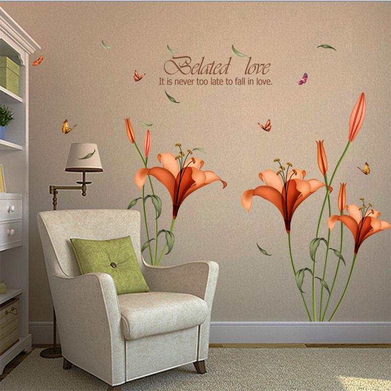 Grosshandel Pvc Orange Blumen Schmetterling Blatt Wandaufkleber Fur