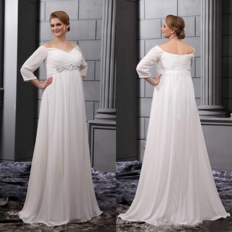 Discount Simple Wedding Dresses Plus Size Pregnant Bride 2016 Off Shoulder 3 4 Long Sleeves