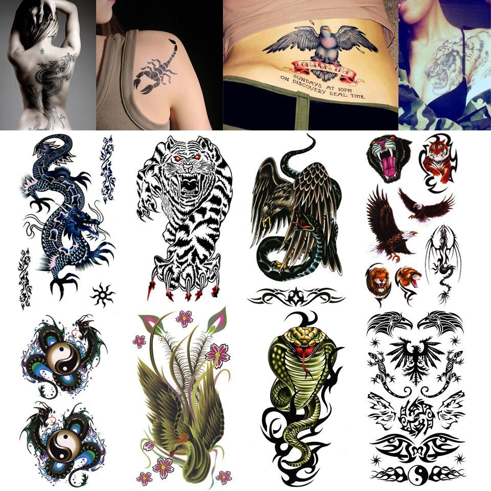 Wholesale-Body Art Fake Tattoo Wild Beast Tiger Temporary Tattoo ...