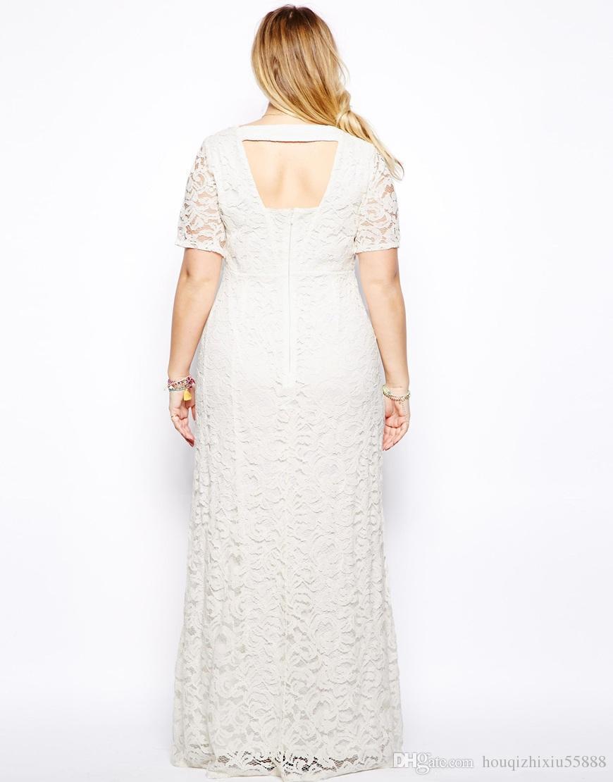 newest Plus Size Women Dresses XXL-9XL Lace Hollow Out Short Sleeves Crochet Top Chiffon Sexy Plus Size White/Black Maxi Dress Vestidos