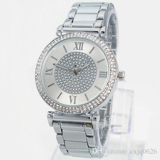 Hot Sale Silver Gold Watch Women Luxury Brand Hot Sale Ladies Wristwatches Gifts For Girl Full Stainless Steel Rhinestone Quartz Watch