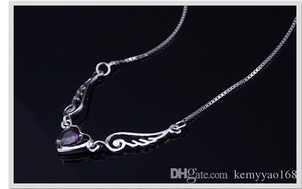 Оптовая Сердце ангела ожерелье с цирконами 100% гарантировало Geuinie 925 стерлингового серебра Подвески Ожерелья высокого качества YH4252