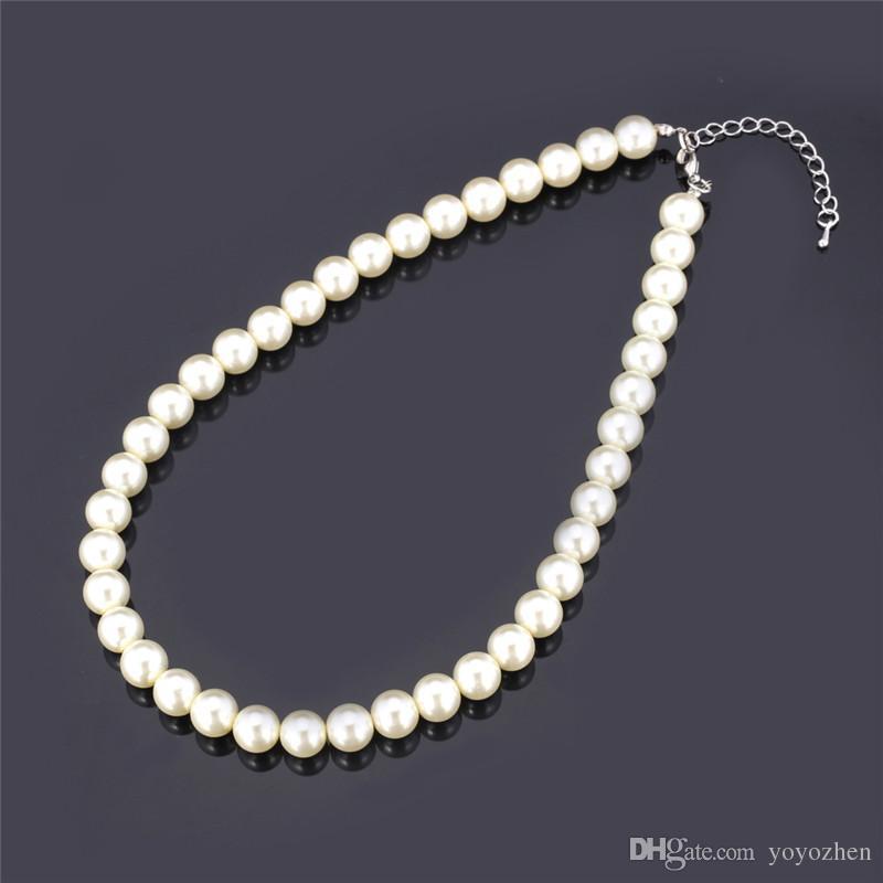 Collar de perlas sintéticas de alta calidad para las mujeres 2015 moldeado blanco Collar Negro / Nueva moda de lujo de tamaño variable