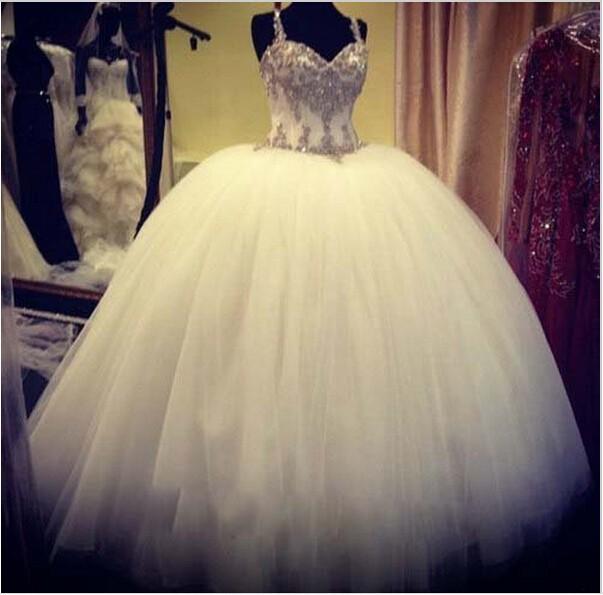 Stunning Puffy Princess Wedding Dress Rhinestones Spaghetti Straps Ball Gown Crystal Robe De Mariee Vintage Bride Dresses Vestidos Noiva
