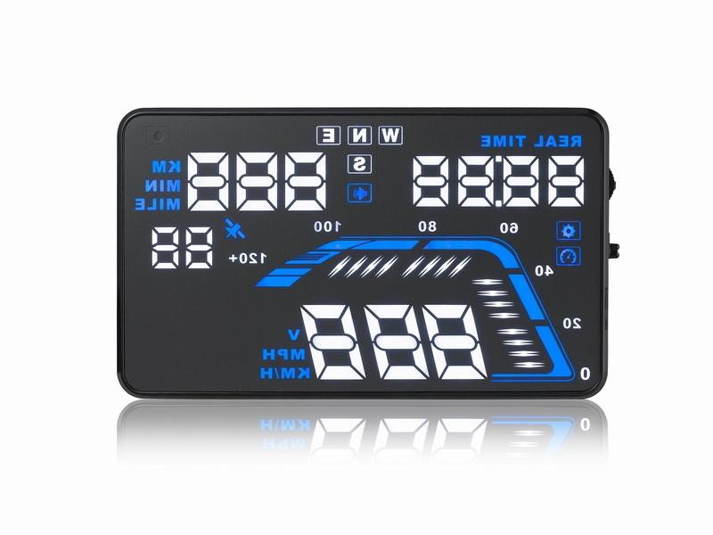 "Car HUD GPS Head Up Display 5.5"" Colorful LED Dashboard Projector Speed Warning System Compatible with All Cars"