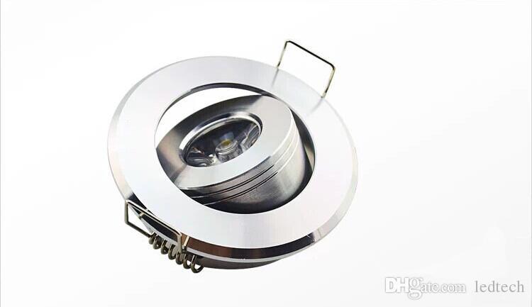 Envoi gratuit récent haute puissance mini-cercle autour LED plafond encastré dans la lumière 1W lampe LED cabinet 3W aluminium blanc