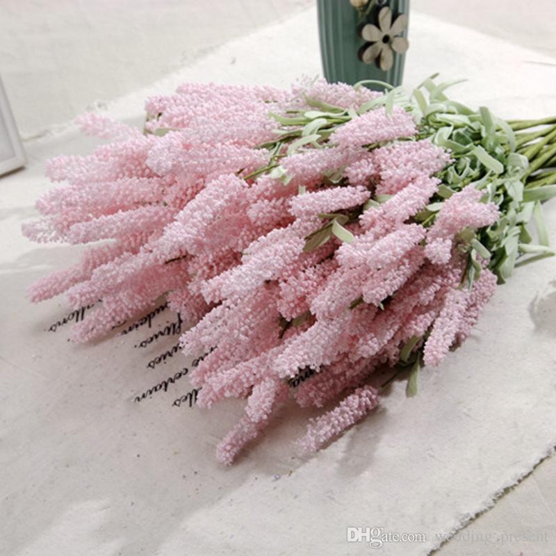 1 Ramo de flores de seda Lavender Artificial Ramos de novia para el jardín de la boda Fake Flower floral decoración del hogar es 12 cabezas