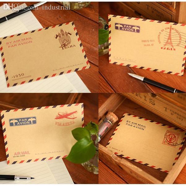 Wholesale Vintage Style Brown Kraft Air Mail Envelopes 11x16 2cm Mix