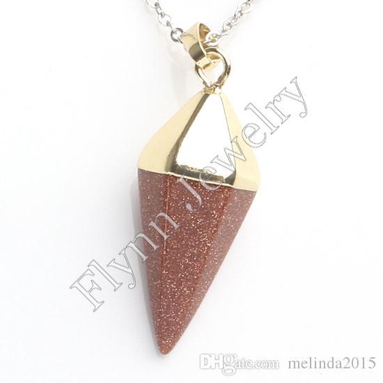 Очарование авантюрин золотой песок и т. д. природный камень шестигранной пирамиды столб Кристалл чакра исцеление кулон аксессуары Европейский ювелирных изделий 10шт