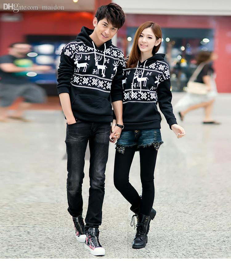 7d3cc94f64 2019 Wholesale Couple Clothes 2015 New Women/ Men Shirts Hoodies For Couple  Costumes Cotton Deer Print Long Sleeve Pullover Top White,Black,Red From  Viviant ...