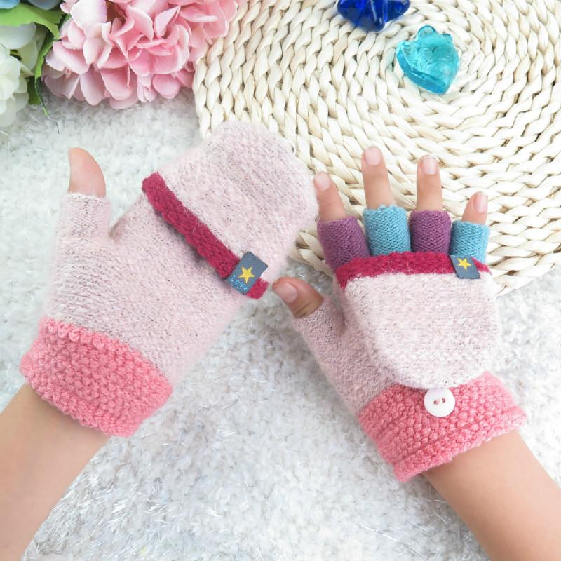 Childrens Fingerless Gloves Autumn And Winter New Korean Style Warm
