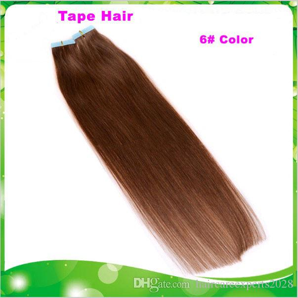 100g=18 20 inch 6# light brown Glue Skin Weft PU Tape in Human Hair Extensions INDIAN REMY huge stock 3-5 days delivery