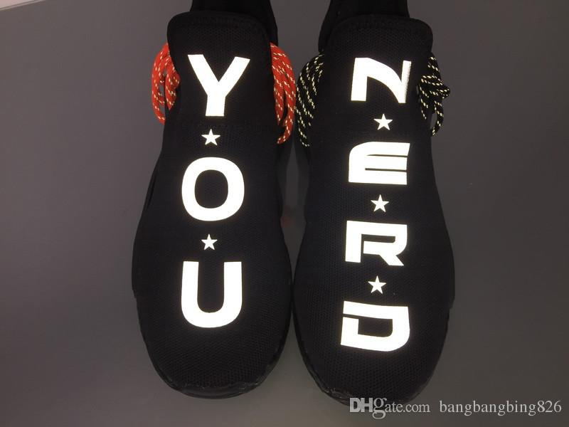 4528312f32da Limited Trail Human Race HU Pharrell NERD Black White Running Shoes  Sneakers Y O U N E R D Sports Shoes Running Shoes Men From Bangbangbing826