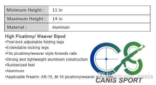 High Picatinny BiPod Adatto a Picatiny Style Entend Rails Forte e leggera costruzione in alluminio CL17-0023