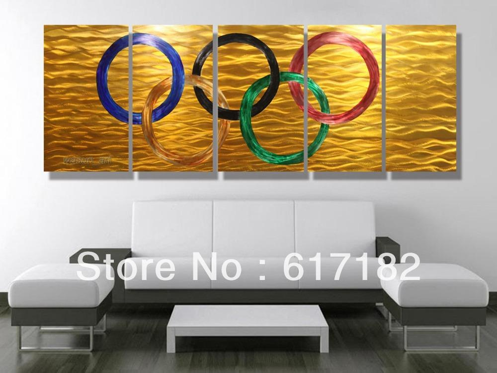 Customized Wall Art modern customized metal wall art painting olympic rings sculpture