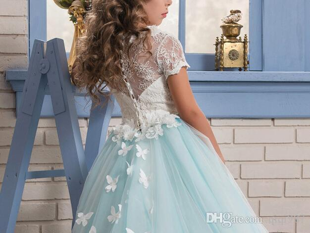 Real Fotos Ballkleid Prinzessin Hochzeit Blumenmädchen Kleider 2018 Hochwertige Tutu Kommunion Mädchen Geburtstag Kleider