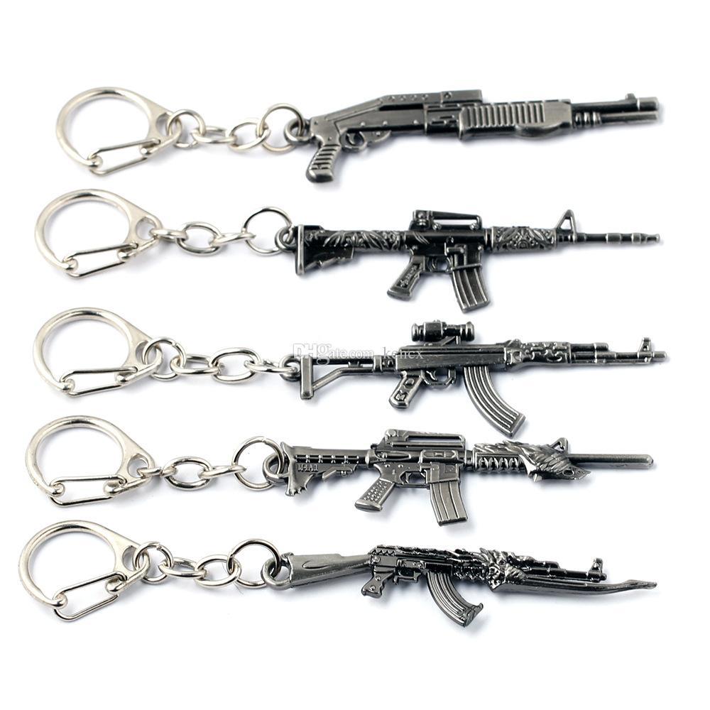 10 stili simulazione modello arma portachiavi pistola portachiavi auto portachiavi cool mens gioielli copertura chiave