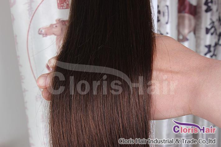 Оптовая торговля # 4 темно-коричневый клип в натуральных человеческих волосах наращивание волос Полная голова 70 г 100 г 120 г Перуанских реми РЕММ Прямые сплетенные клипы Ins 14-24