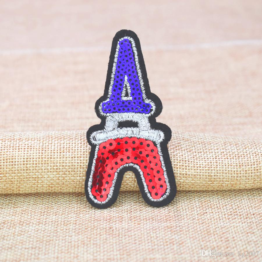 Eiffel Tower Sequined Patches for Clothing Iron on Transfer Applique Patch for Bags Jeans DIY Sew on Embroidery Sequins
