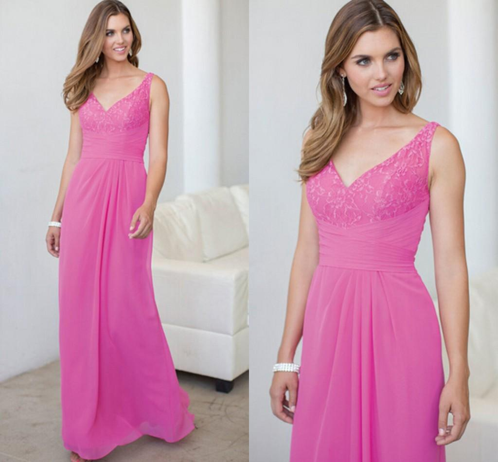 Beautiful western styles fuchsia v neck lace bodice elegant beautiful western styles fuchsia v neck lace bodice elegant bridesmaid dresses chiffon custom wedding event women evening party gowns lh pretty bridesmaid ombrellifo Images