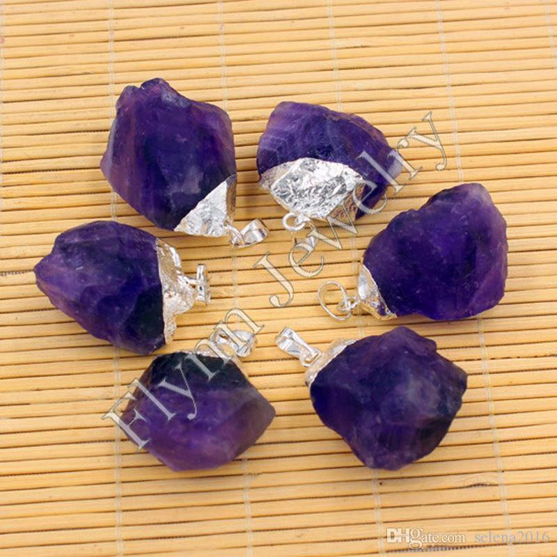 Natural Amethyst Rock Crystal Topaz Precious Gem Stone Different Reiki Pendulum Pendant Charms Healing Chakra Fashion DIY Jewelry
