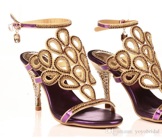 2016 Sexy Purple Gold Sandal Floral Crystal Rhinestones 8cm High ...
