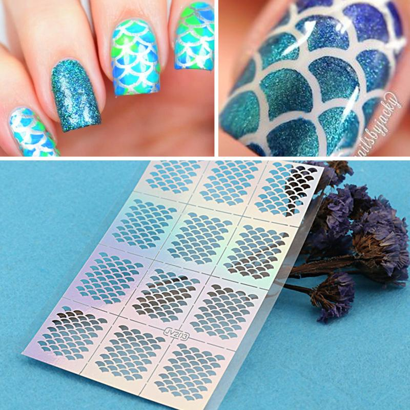 12tipssheet nail art vinyls fish scale nail vinyls mermaid 12tipssheet nail art vinyls fish scale nail vinyls mermaid stencil stickers nail vinyls nail tip guides 2 sheets stickers and decals nail stencil stickers prinsesfo Images