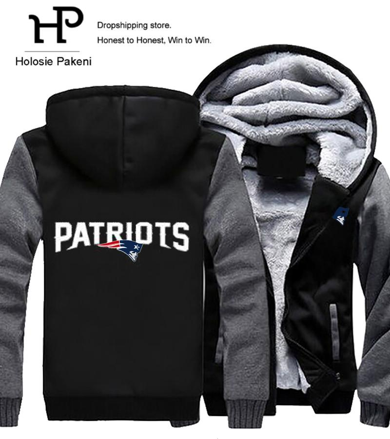 sneakers for cheap 956b9 64a09 Wholesale- Dropshipping Men Women Unisex Patriots Hoodies Zipper  Sweatshirts Jacket Winter Warmth Thicken Fleece Hooded Coat